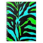 Estampado de zebra verde y azul abstracto 2 libros de apuntes con espiral