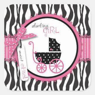 Estampado de zebra y carro de bebé pegatina cuadrada