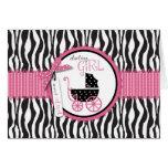 Estampado de zebra y carro de bebé tarjeta