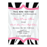 Estampado de zebra y clase rosada de la graduación invitaciones personalizada