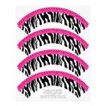 Estampado de zebra y envolturas rosadas de la magd membretes personalizados