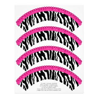 Estampado de zebra y envolturas rosadas de la magd membrete a diseño