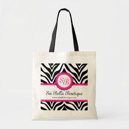 Estampado de zebra y monograma del cordón/tote ros bolsa lienzo