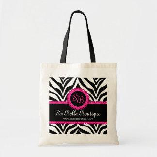 Estampado de zebra y monograma rosado del cordón bolsa de mano