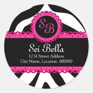 Estampado de zebra y pegatinas rosados del etiquetas redondas