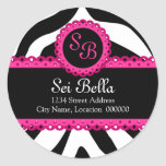 Estampado de zebra y pegatinas rosados del monogra etiquetas redondas