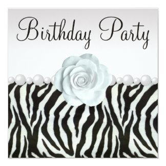 Estampado de zebra y perlas impresas y fiesta de invitación 13,3 cm x 13,3cm