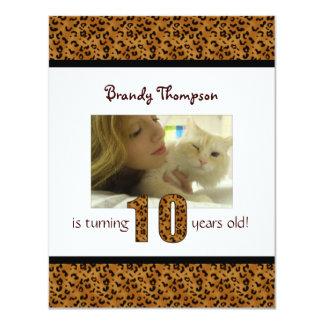 Estampado leopardo: 10mo Invitación del cumpleaños