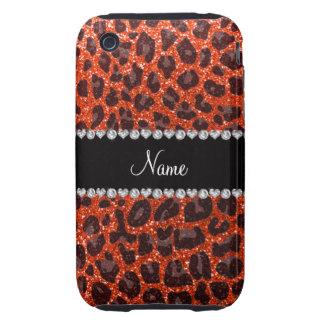 Estampado leopardo anaranjado de neón conocido de  tough iPhone 3 coberturas