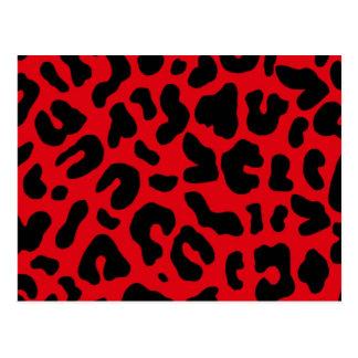 Estampado leopardo animal en rojo tarjetas postales
