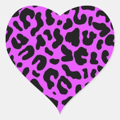 Estampado leopardo animal en rosas fuertes pegatina de corazon