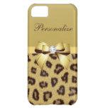 Estampado leopardo, arco y diamante personalizados