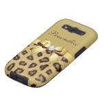 Estampado leopardo, arco y diamante personalizados galaxy s3 funda
