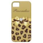 Estampado leopardo, arco y diamante personalizados iPhone 5 Case-Mate coberturas