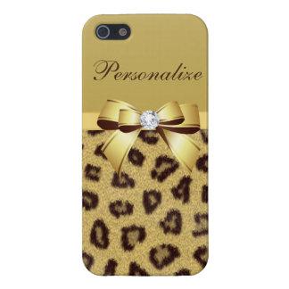 Estampado leopardo, arco y diamante personalizados iPhone 5 funda