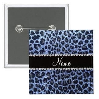 Estampado leopardo azul claro conocido de encargo  pin cuadrado