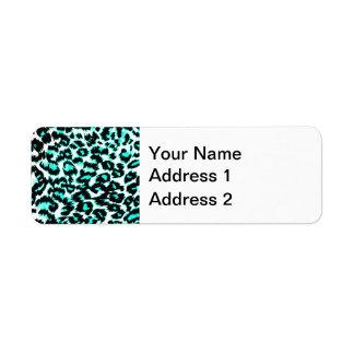 Estampado leopardo azul claro y negro etiquetas de remite