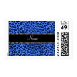 Estampado leopardo azul conocido personalizado sello