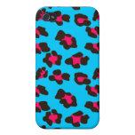 Estampado leopardo azul de neón iPhone 4 carcasas
