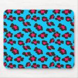 Estampado leopardo azul de neón tapete de ratones