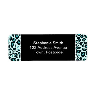 Estampado leopardo azul etiqueta de remite