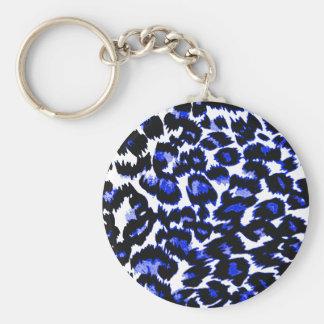 Estampado leopardo azul llaveros
