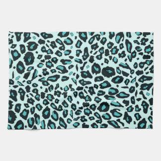 Estampado leopardo azul toallas de mano