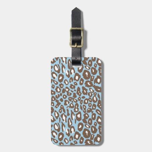 Estampado leopardo azul y blanco etiquetas de maletas