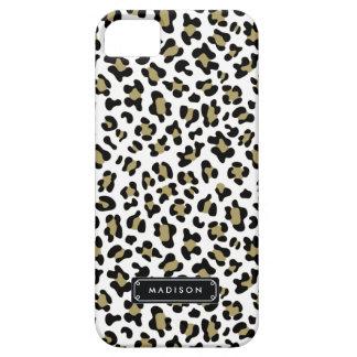 Estampado leopardo beige del oro salvaje elegante funda para iPhone 5 barely there