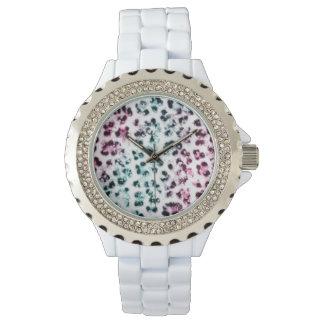 Estampado leopardo blanco del diamante artificial relojes de pulsera
