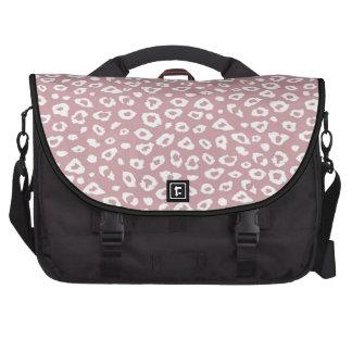 Estampado leopardo blanco rosado bolsas para portatil
