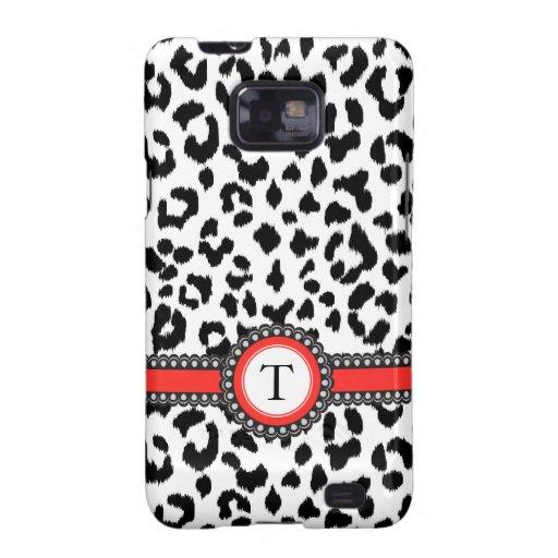 estampado leopardo blanco y negro con el monograma samsung galaxy s2 carcasas