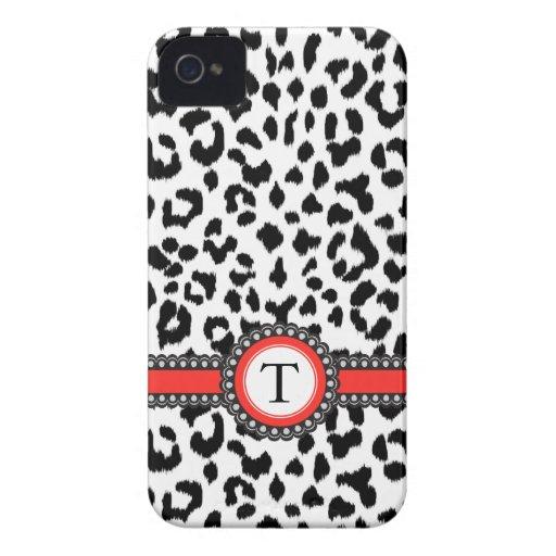 estampado leopardo blanco y negro con el monograma Case-Mate iPhone 4 funda