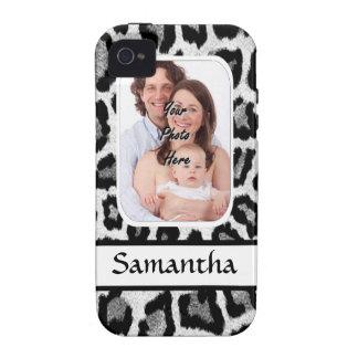 Estampado leopardo blanco y negro vibe iPhone 4 fundas