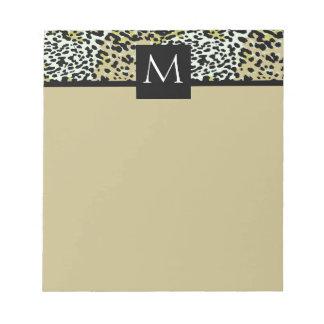 Estampado leopardo clásico con monograma bloc de papel