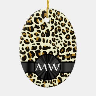 Estampado leopardo con monograma ornamento para arbol de navidad