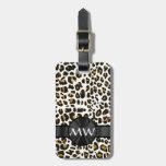 Estampado leopardo con monograma etiquetas bolsas