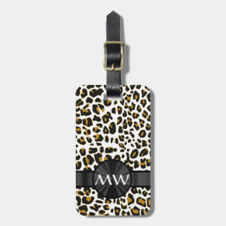 Estampado leopardo con monograma etiquetas para equipaje