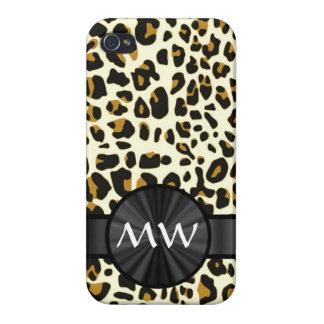 Estampado leopardo con monograma iPhone 4 cobertura