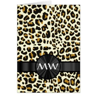 Estampado leopardo con monograma tarjeta de felicitación
