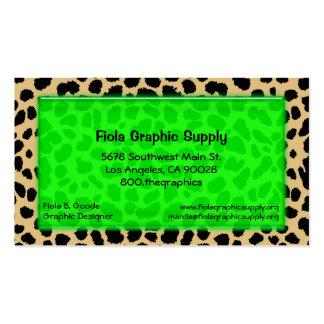 Estampado leopardo con rectángulo del vidrio de tarjetas de visita