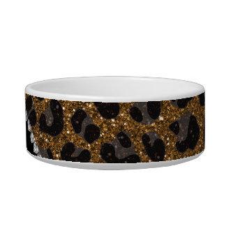 Estampado leopardo conocido de encargo del brillo comedero para mascota