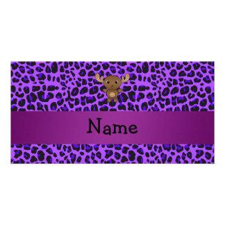 Estampado leopardo conocido personalizado de la pú tarjeta fotografica