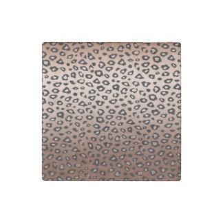 Estampado leopardo de bronce del oro imán de piedra