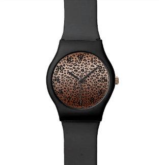 Estampado leopardo de bronce Ombre del oro Relojes De Pulsera