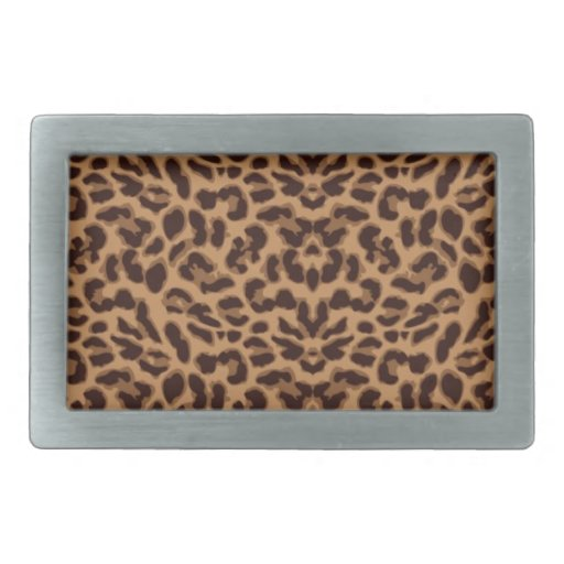 Estampado leopardo de Brown Hebilla Cinturón Rectangular
