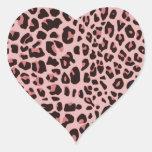 Estampado leopardo de la diversión pegatina en forma de corazón