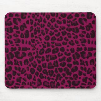 Estampado leopardo de la púrpura del ciruelo alfombrillas de raton