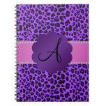 Estampado leopardo de la púrpura del monograma cuaderno
