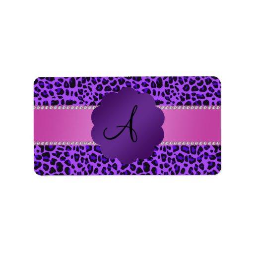 Estampado leopardo de la púrpura del monograma etiquetas de dirección